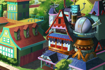 <span>Cartoon Style, Character Design</span>Sprocketeers Background Art